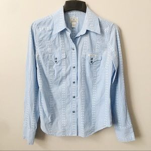 Lucky Brand Embroidered Western Snap Front Top